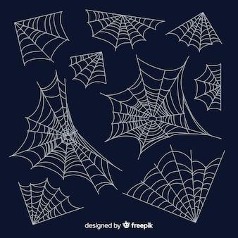 Colección de telarañas de araña dibujada a mano