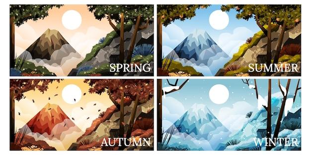 Colección temporadas dibujadas a mano vector gratuito