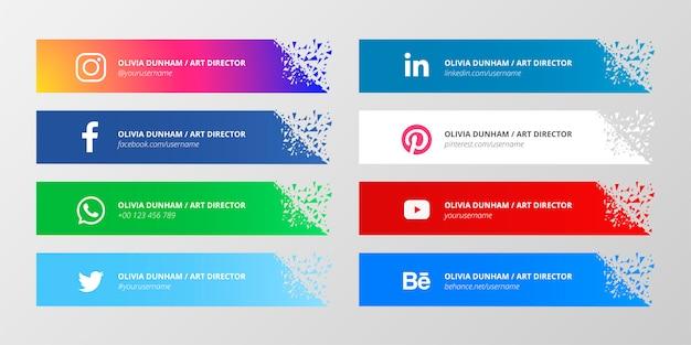 Colección de terceros de medios sociales con formas rotas