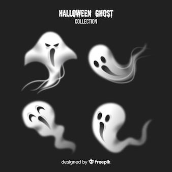 Colección terrorífica de fantasmas de halloween con diseño realista