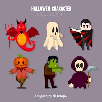 Colección terrorífica de personajes de halloween con diseño plano