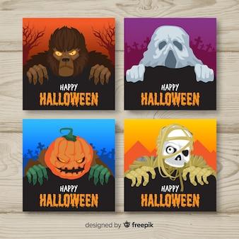 Colección terrorífica de tarjetas de halloween con diseño plano