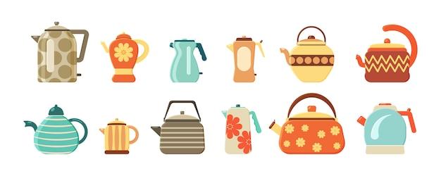 Colección de teteras y teteras aisladas sobre fondo blanco. conjunto plano de teteras. utensilios de cocina. bebida caliente. electrodomésticos para el agua hirviendo.