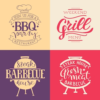 Colección de texto dibujado a mano de comida a la parrilla, salchichas, pollo, papas fritas, filetes, pescado