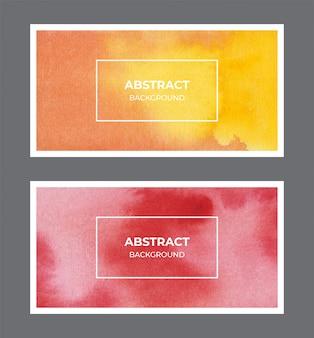 Colección de textura de fondo de banner web acuarela amarillo y rojo