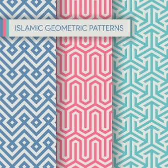 Colección de texturas de patrones geométricos islámicos sin fisuras
