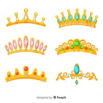 Colección tiaras de princesa doradas