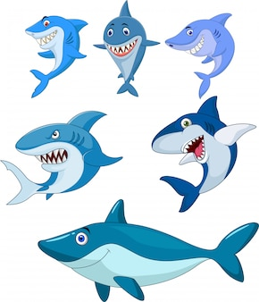 Colección de tiburones de dibujos animados
