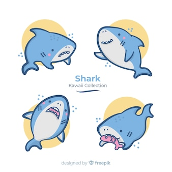 Colección tiburones kawaii dibujados a mano