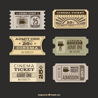 Colección de tickets de cine en estilo retro