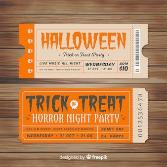 Colección de tickets vintage para fiesta de halloween
