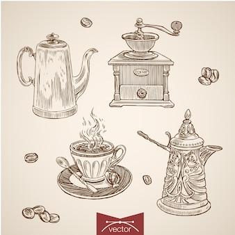 Colección de tiempo de café dibujado a mano vintage grabado.