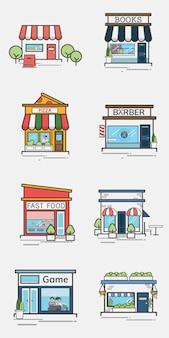 Colección de tiendas y comercios.