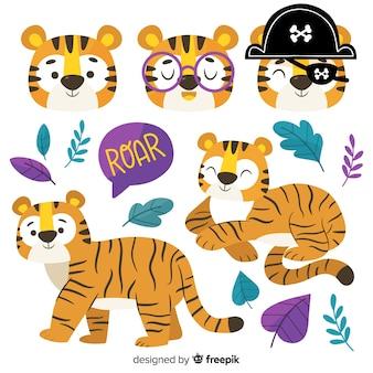 Colección tigres kawaii dibujados a mano