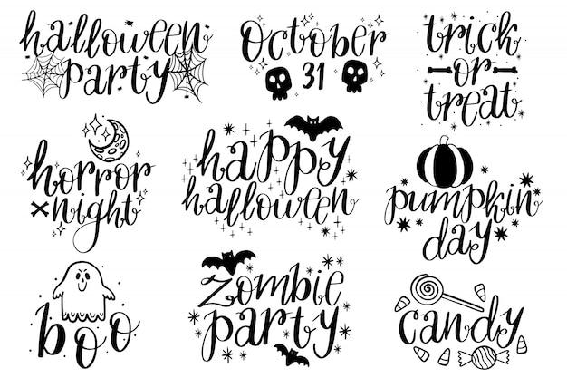 Colección tipográfica de halloween.
