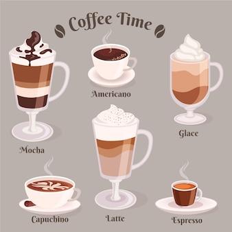 Colección de tipos de café.