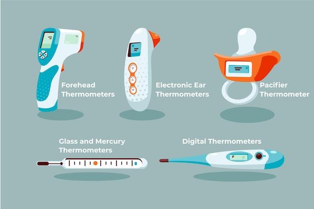 Colección de tipos de termómetros de diseño plano