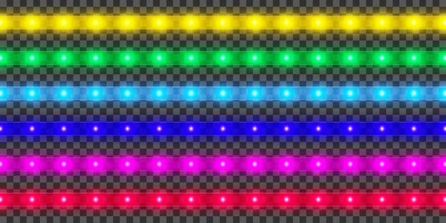 Colección de tiras de led. decoración de cinta iluminada brillante colorida. luces de neón realistas.