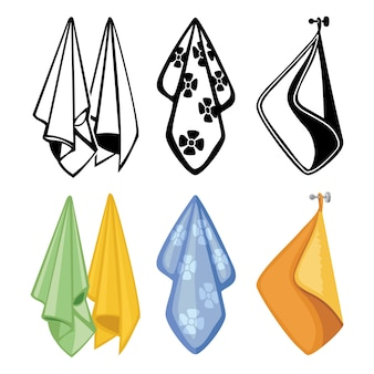 Colección de toallas coloridas y negras. iconos de toallas textiles para cocina, spa