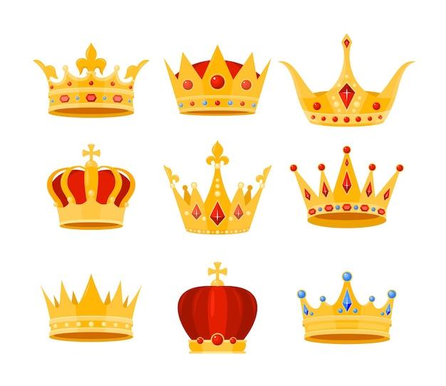 Colección de tocado de joya de coronas de monarca de lujo, emperador o reina, símbolos imperiales de la monarquía