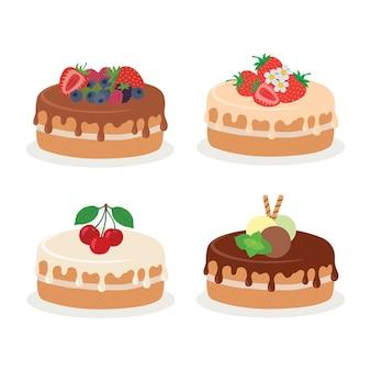 Colección de tortas. ilustración de vector de diferentes tipos de hermosas tortas modernas.