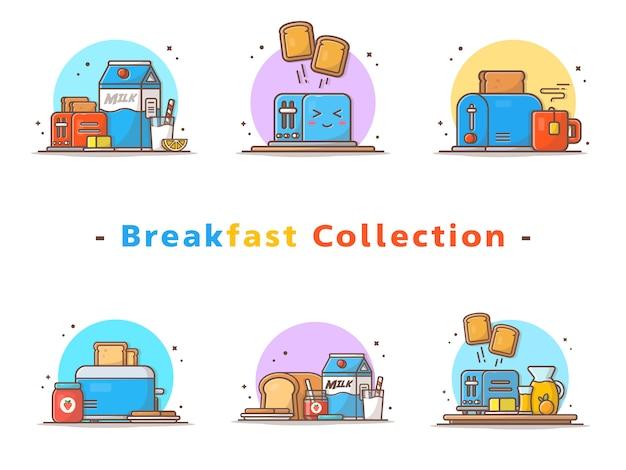 Colección de tostadoras de desayuno