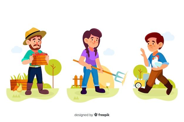 Colección de trabajadores agrícolas de diseño plano ilustrados