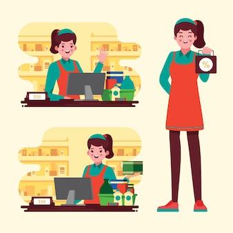 Colección de trabajadores de supermercados