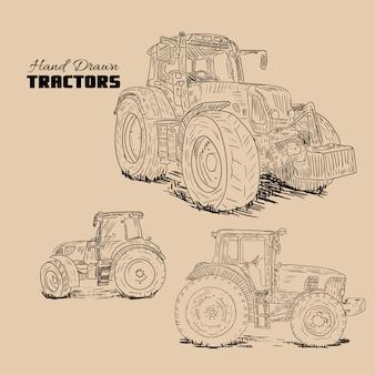 Colección de tractores dibujados a mano