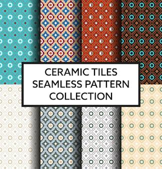Colección tradicional de azulejos de cerámica.