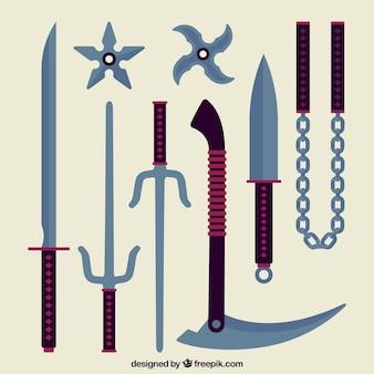Colección tradicional de elementos de ninja con diseño plano