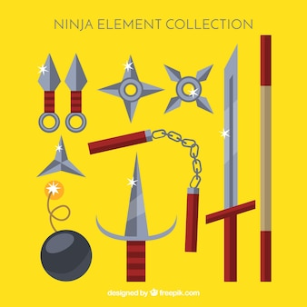 Colección tradicional de elementos ninja con diseño plano