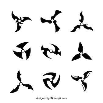 Colección tradicional de estrellas ninja con diseño plano