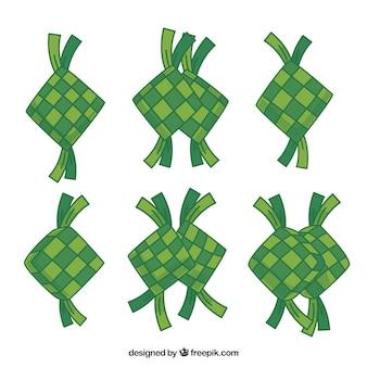 Colección tradicional de ketupat dibujada a mano