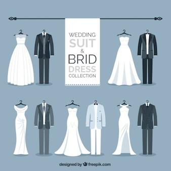 Colección de traje de novio y vestido de novia elegante
