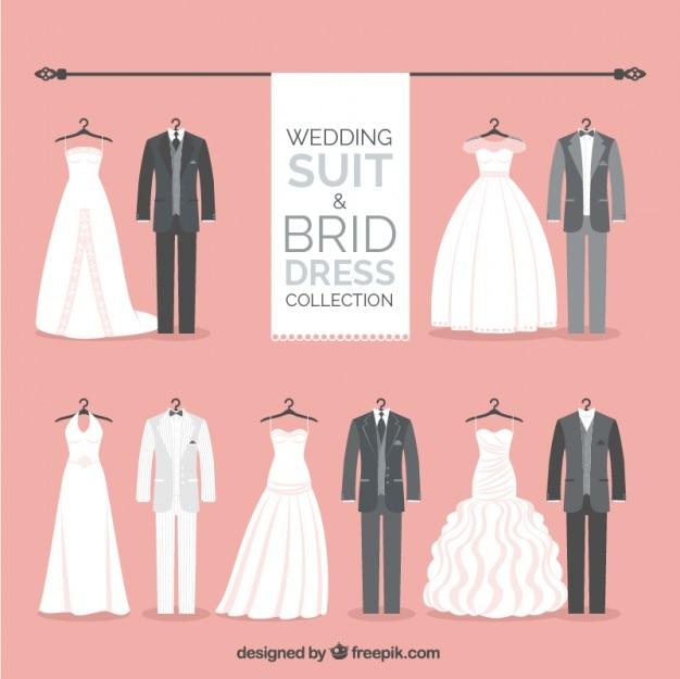 Colección de trajes de novio estiloso y vestidos de novia