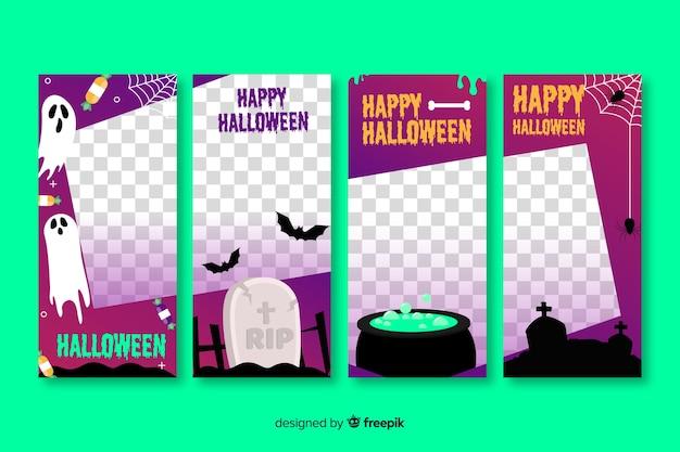 Colección transparente de historias de redes sociales de halloween