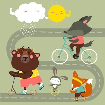 Colección de transporte infantil con lindos animales.