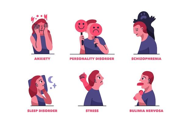 Colección de trastornos mentales en diseño plano