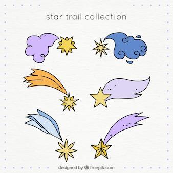 Colección de trazas de estrellas dibujados a mano