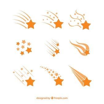 Colección de trazas de estrellas naranjas