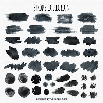 Colección de trazos de acuarela en color negro