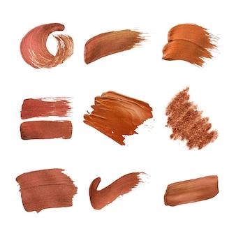 Colección de trazos de pincel de cobre.