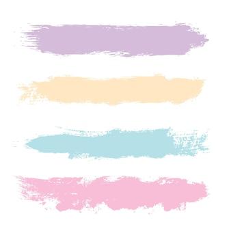 Colección de trazos de pincel grunge en colores pastel