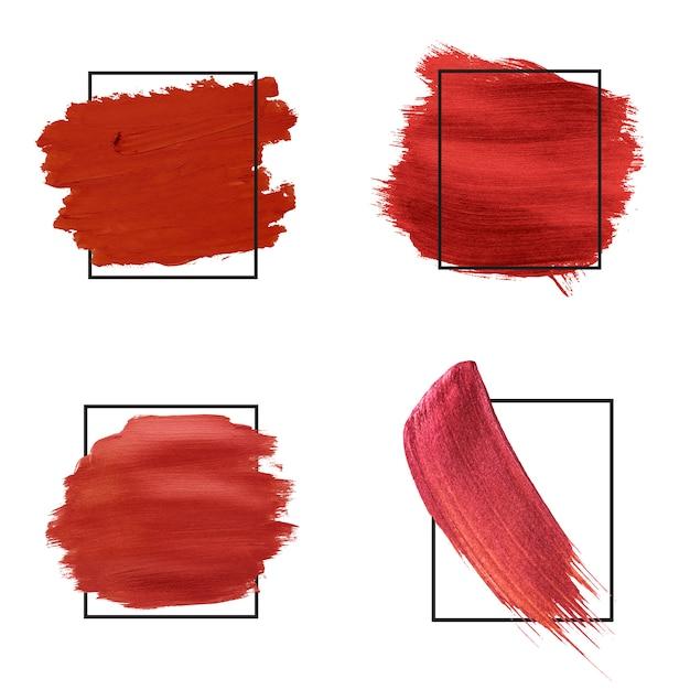 Colección de trazos de pincel rojo