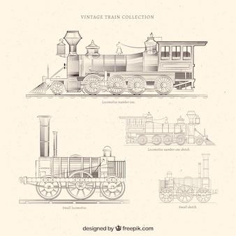 Colección de trenes antiguos dibujados a mano