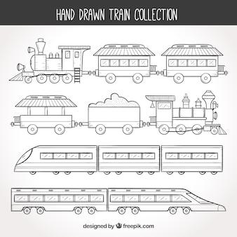 Colección de trenes dibujados a mano