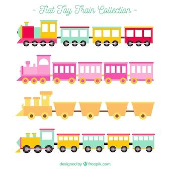 Colección de trenes en estilo flat
