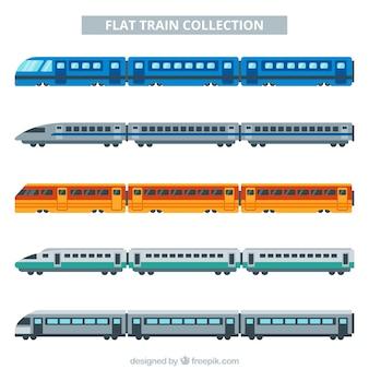Colección de trenes multicolor con diseño plano