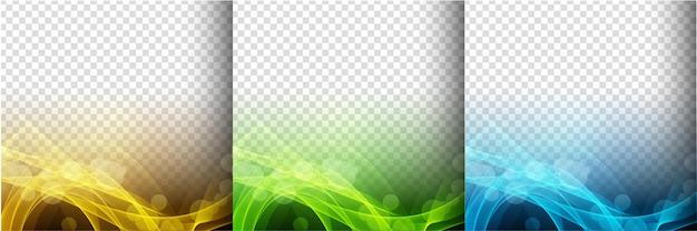Colección de tres coloridos vectores de fondo transparente de onda brillante